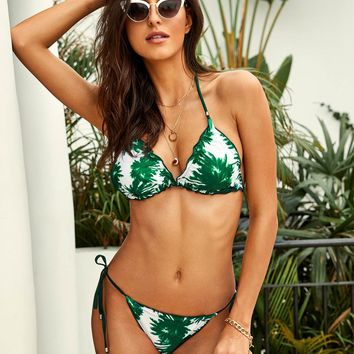 Palm Print Triangle Top With Tie Side Bikini