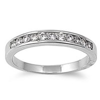 Rhodium Plated Brass Wedding & Engagement Ring Clear Round CZ Channel Set Wedding Band 3MM