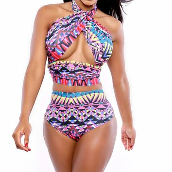Sexy Womens Geometric Print Wrap Halter High Waist Two-piece Swimsuit Swimwear