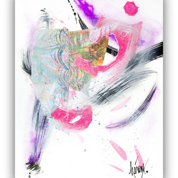 Abstract Art Collage. Original mixed media Collage art on paper 11x14 - Modern Pink Home decor