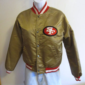 Vintage Amazing 80s SAN FRANCISCO 49ers Gold Satin STARTER Women Small Youth Large Nylon Classic Jacket