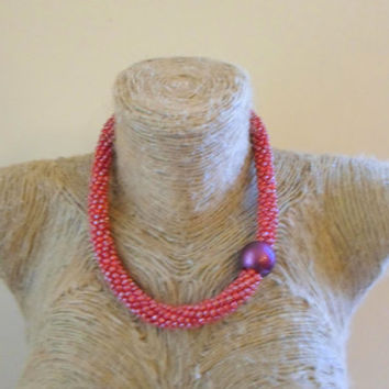 Chunky Bead crochet rope necklace. Hot pink Seed beads crochet rope Necklace . Old rose seed beads size 6 All day jewel.