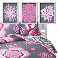 Pink Charcoal Grey Gray Flower Burst Daisies Petals Artwork Set of 3 Trio Prints WALL Decor Abstract ART Picture Bedroom Bathroom