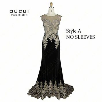 Real Photos Top Quality Black Color Lace Embroider Party Prom Elegant Long Evening Dress OL102653