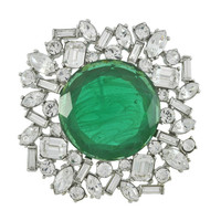Kenneth Jay Lane Large Emerald Centre Brooch | SOPHIESCLOSET.COM | Designer Jewelry & Accessories