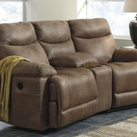 3 pc Valto IV collection saddle colored fabric theater sectional sofa with two recliners