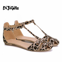 Free Shipping Leopard Print Flat Heel Women's Sandals Shoes new 2017 Summer Shoes Fashion Sandals Sweet