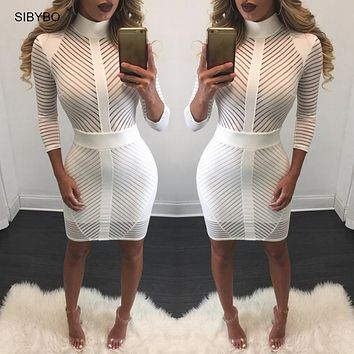 Women Autumn Dress Sexy Mesh Striped Patchwork Bodycon Black Club Dress Elegant Turtleneck Long Sleeve Gold Zipper Party Dresses