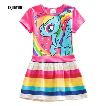 New Baby Girls Dresses Girls Little Pony Derss Cartoon Princess Costume Kids Clothes For 2-7Y Summer Style Children's Clothing