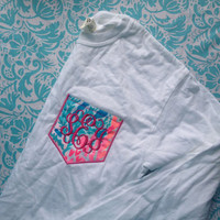 Lilly Pulitzer Monogrammed Long Sleeve Pocket Tee