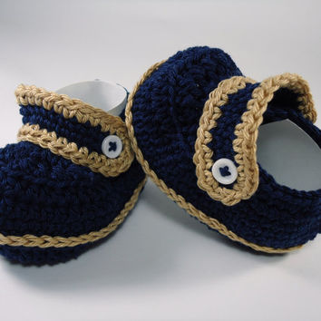 "Crochet Baby Moccasins, Baby shoes, Custom baby shoes, fashion baby shoes, baby accessories - Navy Version - Up to 12 cm (4.7"")"