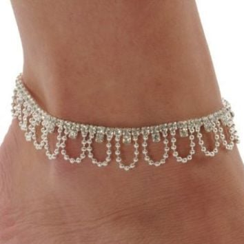 Rhinestone Drape Stretch Anklet Bracelet Austrian Crystal Silver Tone Ankle Clear