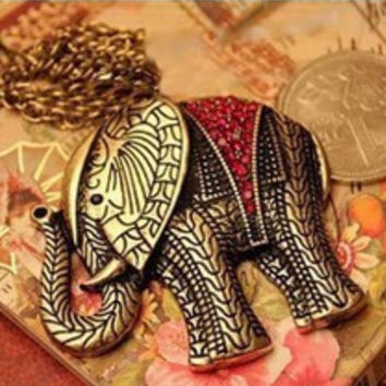 vintage elephant  necklace vintage necklaces pcs pendants animal neklace  -03327