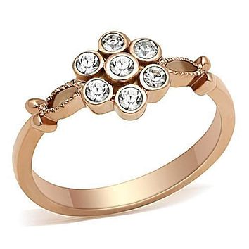 WildKlass Stainless Steel Flower Ring IP Rose Gold(Ion Plating) Women Top Grade Crystal Clear