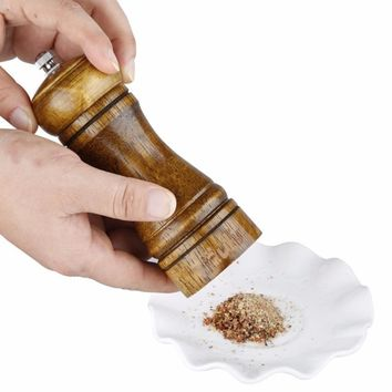 5 Inch Classical Wooden Pepper Spice Salt Corn Mill Grinder Kitchen Cooking Tools