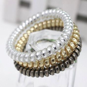 PEAPGC3 10 Pcs New Arrival Gold/Silver Color Elastic Rubber Telephone Wire Hair Bands Ponytail Holder Hair Accessories