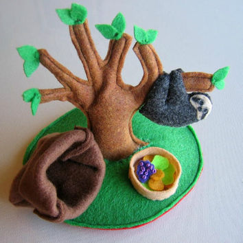 Sloth Playset stuffed plush animal with tree food by wishwithme