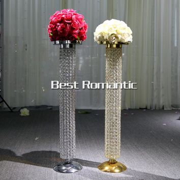 80CM Tall/10pcs Gold+Silver Wedding Crystal Centerpiece Stand