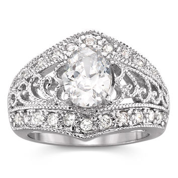Cubic Zirconia Oval Shaped Filigree Ring