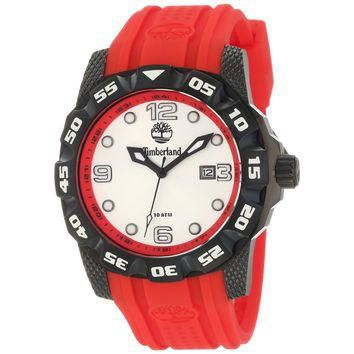 Timberland TBL-13317JSB-04 Men's Belknap Silver Dial Black IP Steel Red Silicone Rubbe