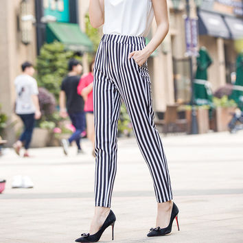 Plus Size Summer Chiffon Pants Stripes Casual Cropped Pants [10356662349]