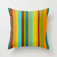 18x18 Mod Brown & Orange Striped Throw Pillow,Fun Pillow, Mod Pillow, Funky  Pillow, Modern  Pillow, Mod Cushion,Funky Cushion, Fun Cushion,