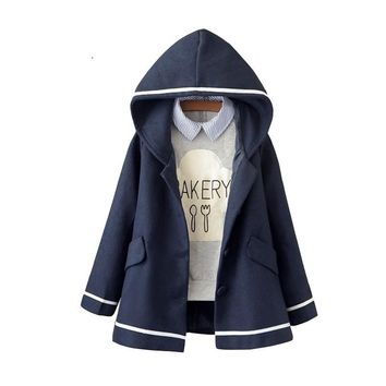 Loose Student Preppy Style Hooded Jacket