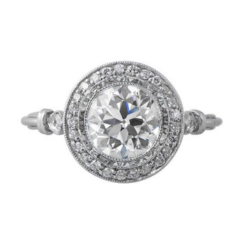 1.52ct Vintage Old European Cut Diamond Engagement Ring - GIA - Row of Pave and fine millegrain - Art Deco Engagement Ring Style