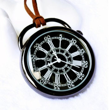 Vintage cool shining black Numbers Pocket Watch,Quality Quartz  watch,long necklace