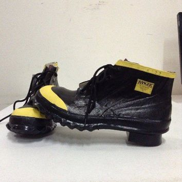 "Ranger 6"" Heavy-Duty Men's Rubber Steel Toe Work Shoes, Black & Yellow Size 9"