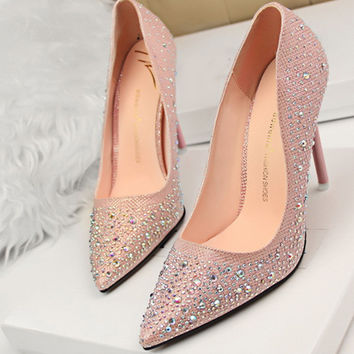 Summer New Fashion Sexy Women Silver Rhinestone Wedding Shoes Platform Pumps Red Bottom High Heels Crystal Shoes Gold Black Pink