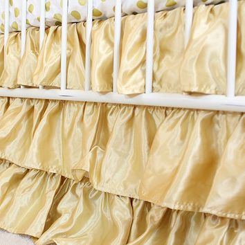 Waterfall Ruffle 3 Tier Skirt | Gold Satin