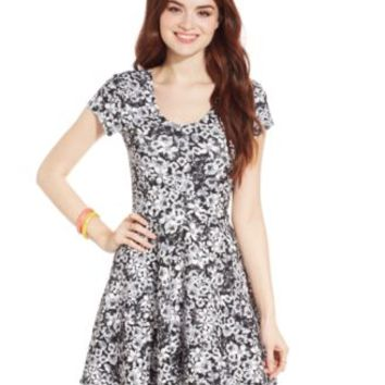 Planet Gold Juniors' Floral-Print Skater Dress | macys.com