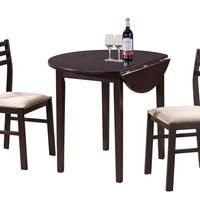 "Dining Set - 3Pcs Set / 36""Dia / Cappuccino W/ Drop Leaf"