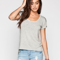 Life Clothing Co. Step Hem Womens Roll Cuff Tee Heather Grey  In Sizes
