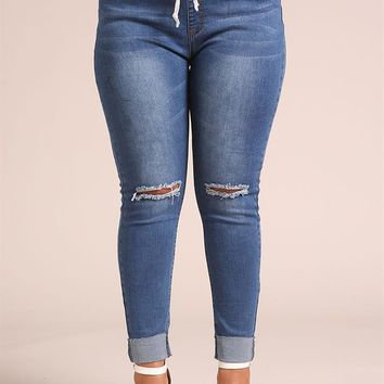 Plus Size Clothing | Plus Size Drawstring Knee Slit Skinny Jeans | Debshops
