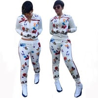 White Floral Butterfly Print Zip-Up Top Drawstring Pants Suit
