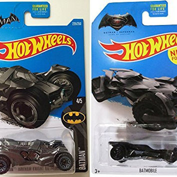 2016 Hot Wheels Batman 2-Car Set Batmobile Dark Arkham Knight vs Dawn of Justice Superman