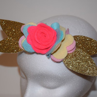 Golden Rose, newborn, infant, toddler, baby girl, elastic, stretchy headband, felt flowers, glitter felt, hair accessories, flower crown