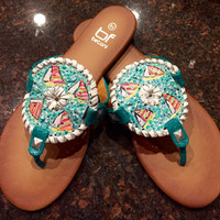 Hand painted sandals inspired by the look if JackRogers with a Lilly Pulitzer like design