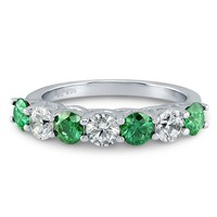 Sterling Silver with Green Swarovski Zirconia 7 Stone Ring 1.75 ct.twBe the first to write a reviewSKU# R859-SWGN