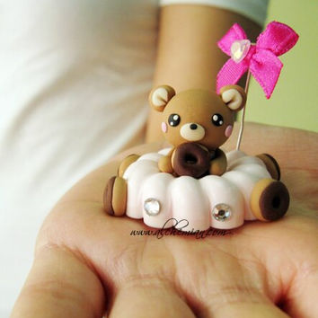 1 Bear Driver figurine  cake topper handmade polymer clay ooak necklace made in italy