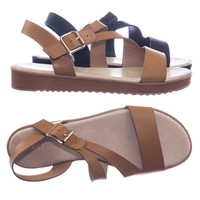 Bestie05 by City Classified Threaded Flatform Sandal w Strappy Cage Adjustable Cross Strap