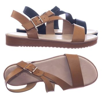Bestie05 by Classified Threaded Flatform Sandal w Strappy Cage Adjustable Cross Strap