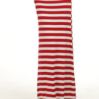 Chic Stripe Maxi Skirt- Red And White Stripe Maxi- Stripe Long Skirt