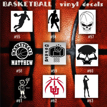 BASKETBALL vinyl decals - 55-63 - bball stickers - hoops car decal - custom window decal - personalized sticker
