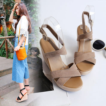 Roman Waterproof High Heel Korean Thick Crust Wedge Summer Sandals = 4871116804