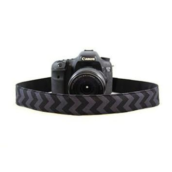 Chevron Black On Black 1.5In Camera Strap - Capturing Couture - CASLR15-CVBB