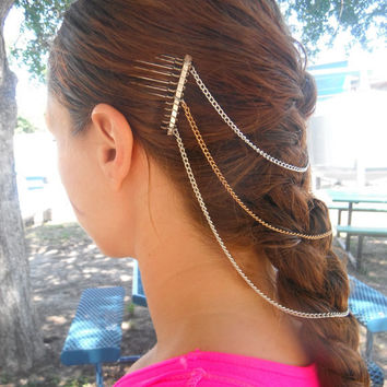 Chain Hair Comb Head Piece by MermaidGlitterDesign