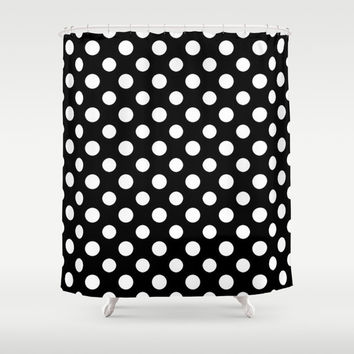 Black and White Polka Dot Pattern Shower Curtain by Smyrna